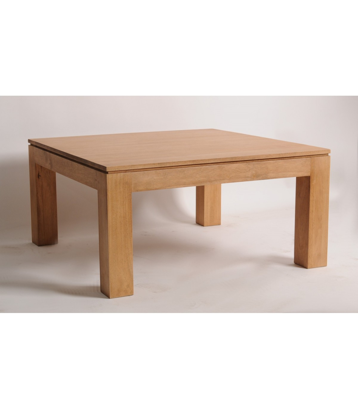 Table basse carr bois meuble hevea naturel - Table basse carre bois ...