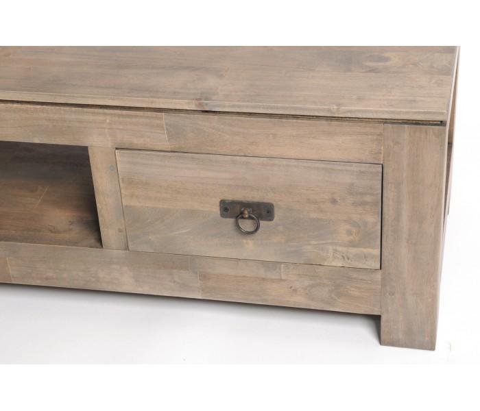 Grand meuble tv hevea teck bois gris meubles for Meuble tv gris bois