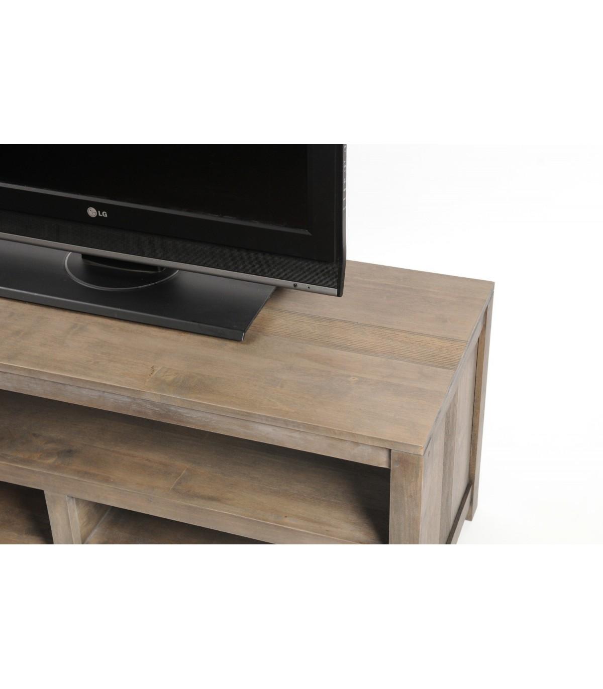 meuble tv bois rangement grand design beldeko pas cher. Black Bedroom Furniture Sets. Home Design Ideas