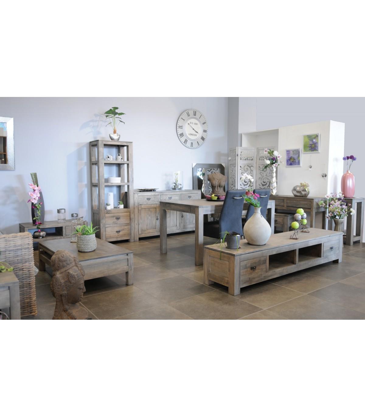 Grand meuble tv hevea teck bois gris meubles for Meubles exotiques