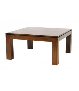 Table basse bois hevea chêne vernis fonce