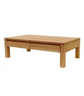 Table basse tiroir hevea bois clair