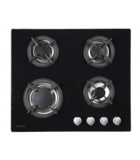 Table de cuisson gaz - BELDEKO BTG4Z-F01VNO, plaque de cuisson gaz en verre noir, bruleurs en fonte. Encastrable
