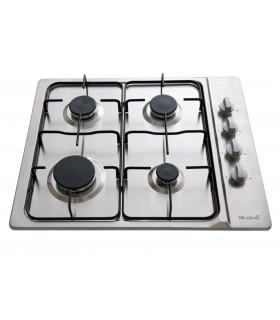 Table de cuisson gaz - BELDEKO BTG4Z-E01IX. Plaque de cuisson en inox, 4 feux. Encastrable