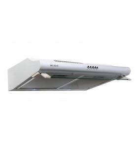 GRETA 60 WH - Hotte Casquette 60 cm. Hotte visière, blanche , blanc puissance, filtre à graisse. Eclairage LED