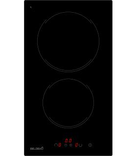 Domino Vitrocéramique Minuterie - BELDEKO BTVM2Z-F04VNO, touches sensitive, 2 feux, plaque de cuisson