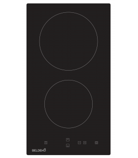 Domino Vitrocéramique - BELDEKO BTV2Z-E01VNO. Plaque vitro 2 feux encastrable.