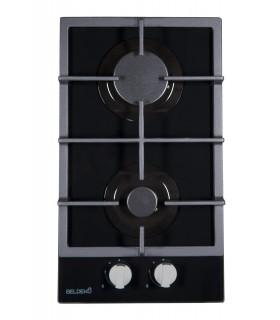 Domino Gaz - BELDEKO BTG2Z-D01VNO. Plaque de cuisson gaz encastrable 2 feux, verre noir, bruleurs en fonte.