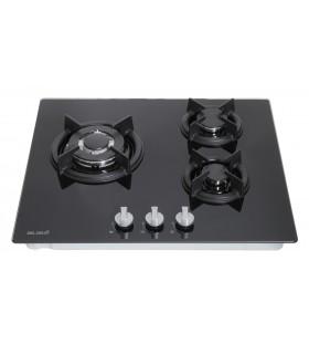 Table de cuisson gaz - BELDEKO TG3V-115, plaque de cuisson gaz en verre noir, brûleurs en fonte. Encastrable.