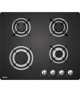 Table de cuisson gaz - AMICA AG3640N, plaque de cuisson gaz en verre noir, bruleurs en fonte. Encastrable
