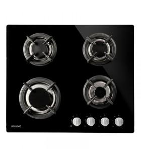 Plaque de cuisson gaz 4 foyers verre noir grilles fonte