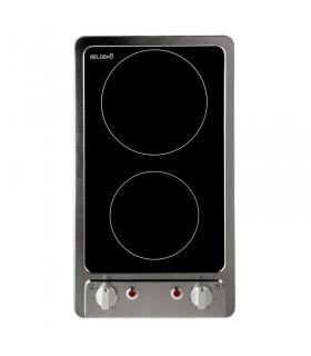 Domino Vitrocéramique - cadre inox encastrable BELDEKO BTV2Z-E05VIX. Plaque de cuisson vitro, inox avec boutons. Encastrable.